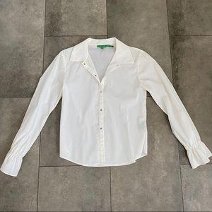 Vintage tibi white collared button down blouse!